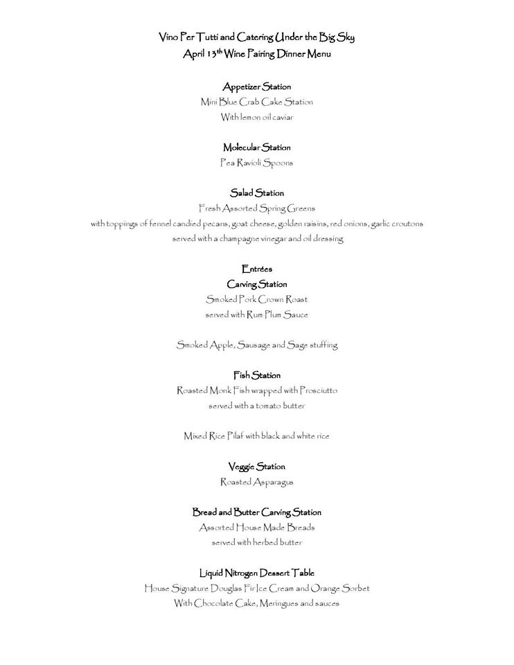 Wine Pairing Dinner Menu