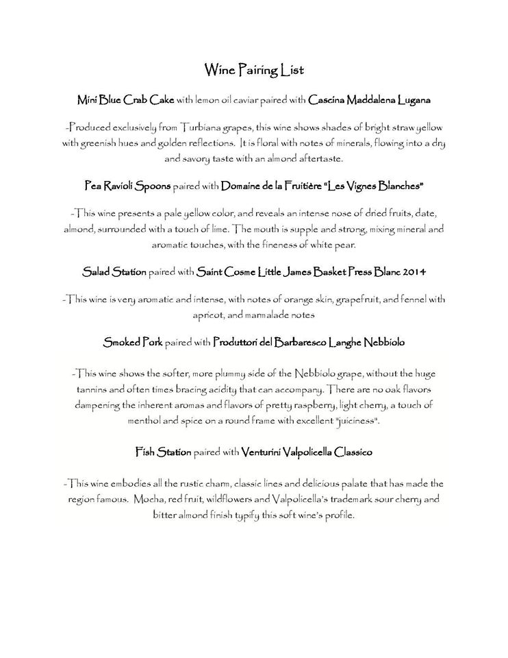 Full Menu With Description for Pairings
